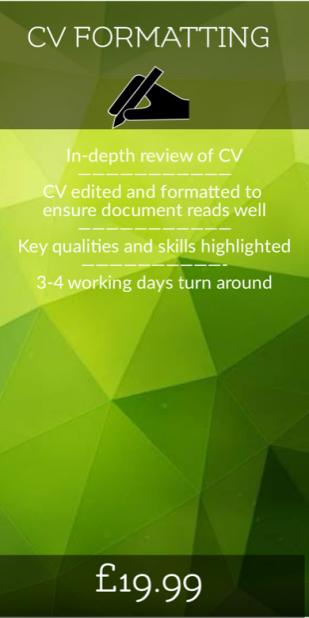 CV Formatting, CV Writing, Basic, CV Editing, Best CV writing service uk
