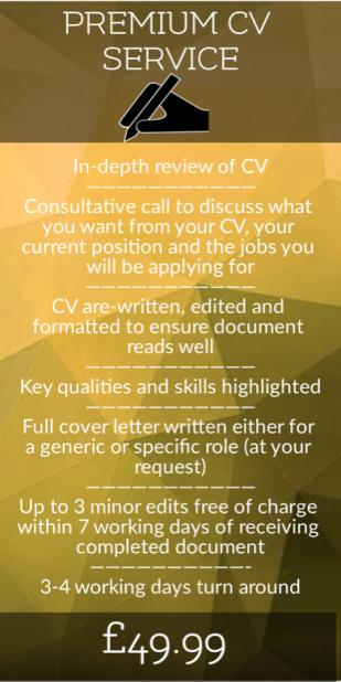 premium CV service, Cover Letter writing, CV writing, CV editing, Best CV writing service uk
